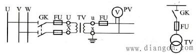 一只单相电压互感器在三相电路中的接线方式