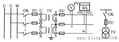 两只单相电压互感器在三相电路中的Vv形接线方式
