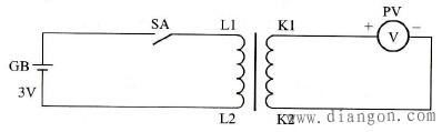 直流法测定电流互感器极性的连接电路