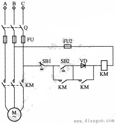使用交流接触器低电压起动电动机的电路接线图说明