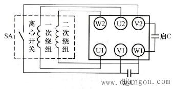 单相电动机内外电路的接线方法示意图