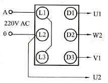 用倒顺开关控制单相电动机正、反转的接线电路