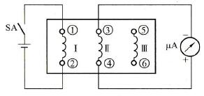 瞬时极性法判断三相异步电动机定子绕组头、尾端