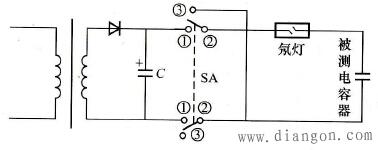 用氖灯检查电动机电容器好坏接线电路