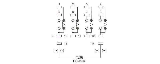 中间继电器底座接线图