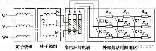 外接分挡起动电阻绕线转子电动机电路图