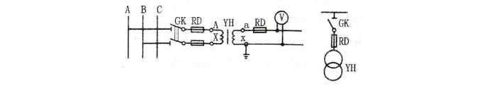 三相电源中单相电压互感器的接线方式