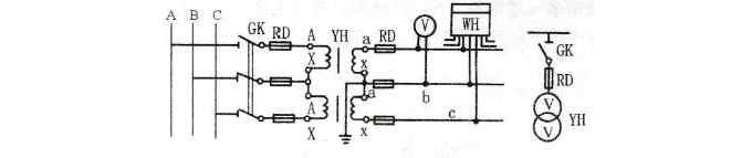 电压互感器V/V连接方式电路