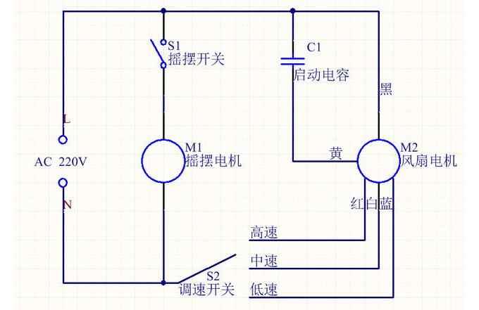 電風扇電路原理圖解