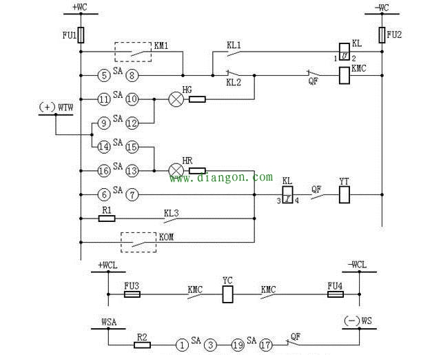 灯光监视的断路器控制回路图(电磁操作机构)
