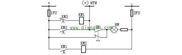 由两个中间继电器构成的闪光装置接线图