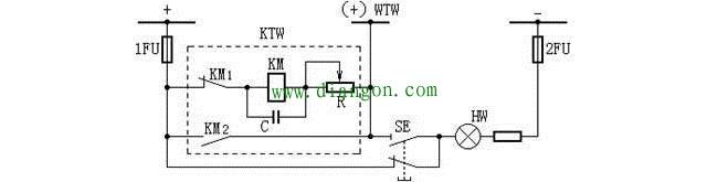 由闪光继电器构成的闪光装置接线图
