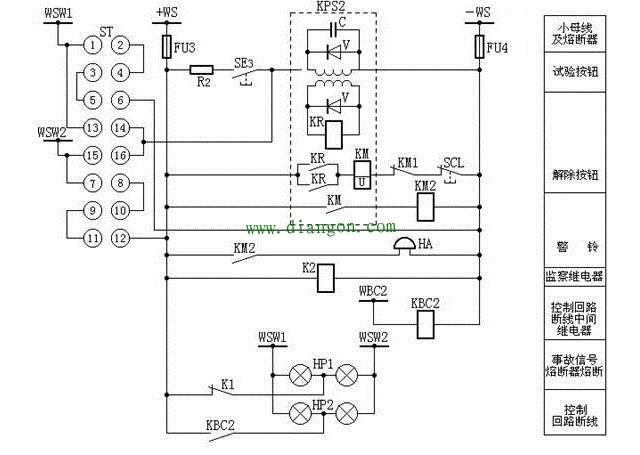 用ZC-23型冲击继电器构成的中央复归能重复动作瞬时预告信号装置的回路图