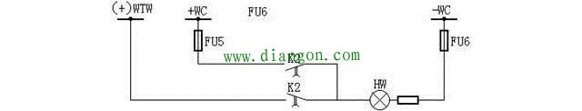 预告信号装置的熔断器监视灯接线图
