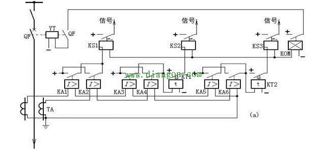 三段式电流保护接线原理图