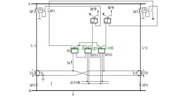 方向横联差动保护的原理图(一相的原理接线)
