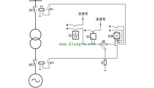 变压器瓦斯保护原理接线图