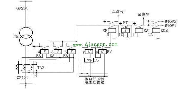 复合电压启动的过电流保护原理图