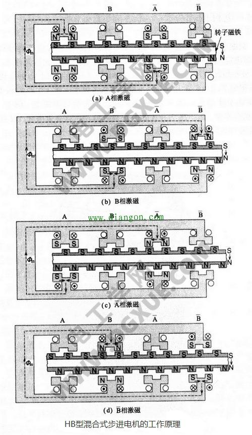 HB型混合式步进电机的工作原理图