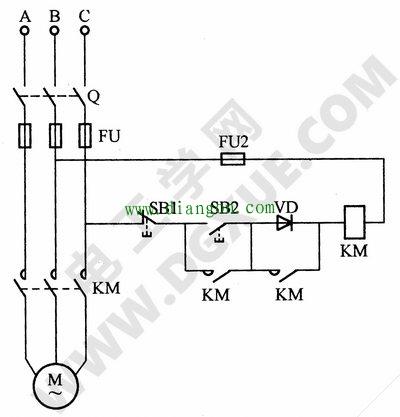 交流接触器低电压起动电动机的电路接线图