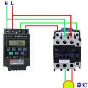 时控开关配合接触器使用的接线方法图解